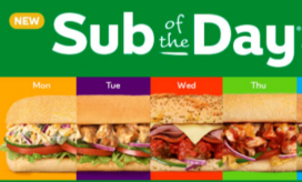Sandwich of the day for subway
